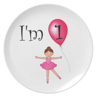 1st Birthday ballerina red balloon Plate