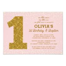 1st Birthday Baptism Invitation Pink Gold Girl