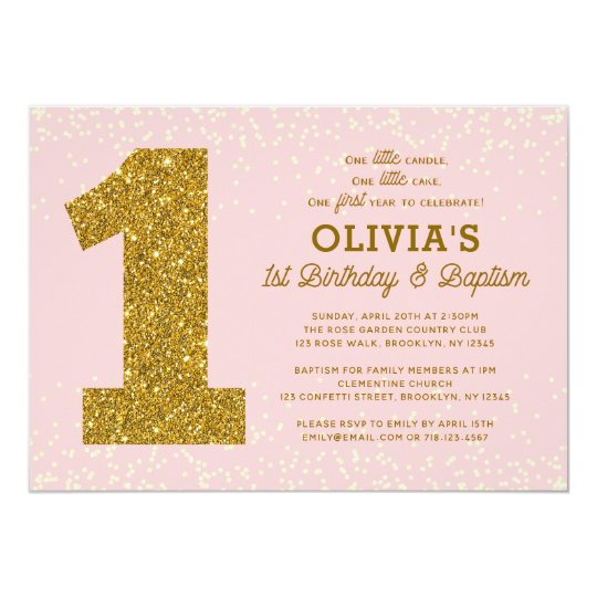 1st birthday baptism invitation pink gold girl zazzle 1st birthday baptism invitation pink gold girl filmwisefo