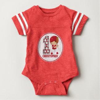 1st Birthday Baseball Batter Red and White Baby Bodysuit