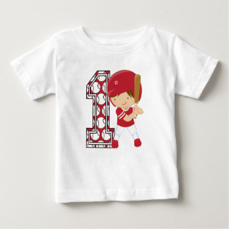 1st Birthday Baseball Batter Red and White Baby T-Shirt