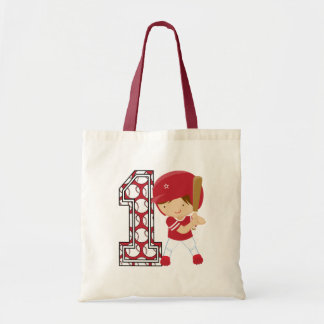 1st Birthday Baseball Batter Red and White Canvas Bags