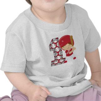 1st Birthday Baseball Batter Red and White T-shirt