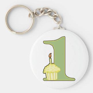 1st Birthday Basic Round Button Keychain