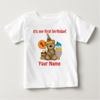 1st Birthday Bear Baby T-Shirt