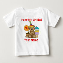 1st Birthday Bear Baby T-Shirt