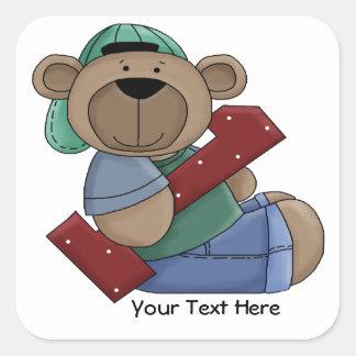 1st Birthday Bear (customizable) Square Sticker