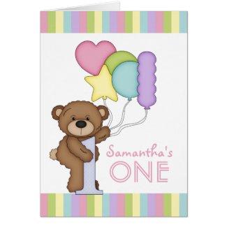 1st Birthday Bear Rainbow Stripes and Balloons Greeting Cards