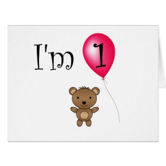 1st Birthday bear red balloon Card