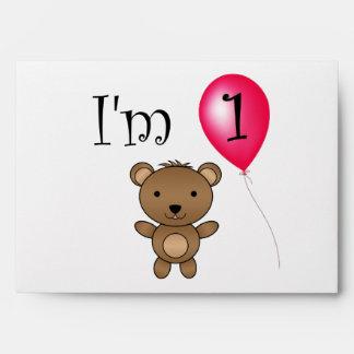1st Birthday bear red balloon Envelopes