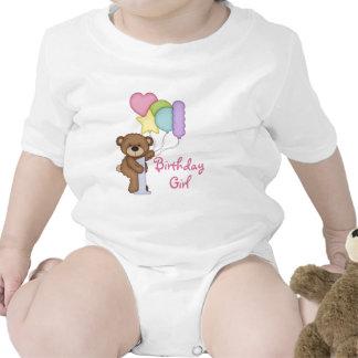 1st Birthday Bear with Balloons Birthday Girl Tshirts