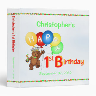 1st Birthday Bears Memory Album 1.5 Inch Binder
