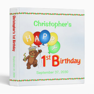 1st Birthday Bears Memory Album 1 Inch 3 Ring Binder