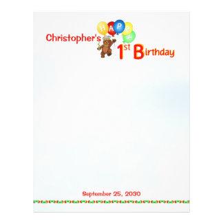 "1st Birthday Bears Scrapbook Paper 1 8.5"" X 11"" Flyer"