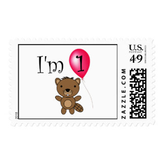 1st Birthday beaver red balloon Postage Stamps