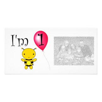 1st Birthday bee red balloon Photo Greeting Card