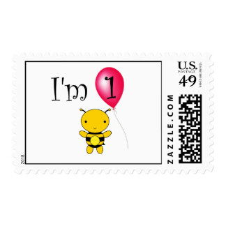 1st Birthday bee red balloon Postage Stamps