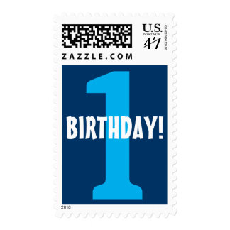 1st Birthday Big Bold Number Postage