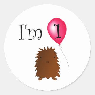 1st Birthday bigfoot red balloon Round Stickers
