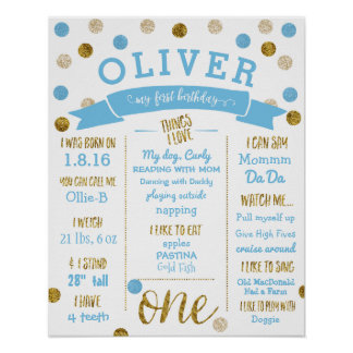 1st Birthday Birthday Poster Light Blue and Gold