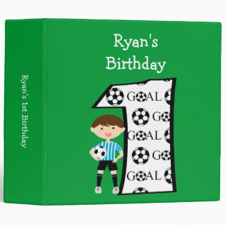 1st Birthday Blue and White Soccer Goal Binder