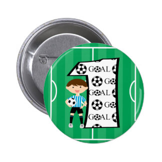 1st Birthday Blue and White Soccer Goal Button