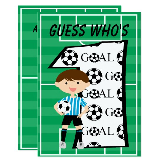 1st Birthday Blue and White Soccer Goal Invitation