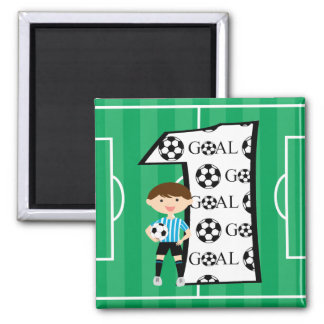 1st Birthday Blue and White Soccer Goal Magnet