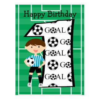 1st Birthday Blue and White Soccer Goal Postcard
