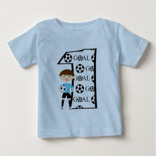 1st Birthday Blue And White Soccer Goal T Shirt