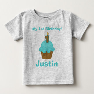 1st Birthday Blue Cupcake with Candle Shirt