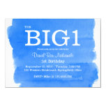 1st Birthday Blue Little Boy's Watercolor Wash 4.5x6.25 Paper Invitation Card