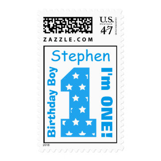 1st Birthday Blue Number with Stars Custom Name Postage