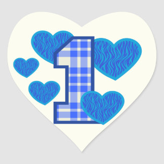 1st Birthday BLUE PLAID Number ZEBRA HeartsV05J Heart Stickers