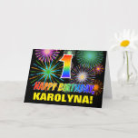 [ Thumbnail: 1st Birthday: Bold, Fun, Fireworks, Rainbow 1 Card ]
