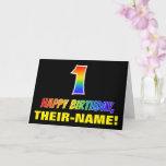 [ Thumbnail: 1st Birthday: Bold, Fun, Simple, Rainbow 1 Card ]