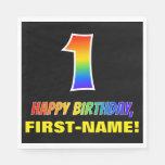 [ Thumbnail: 1st Birthday: Bold, Fun, Simple, Rainbow 1 Napkins ]