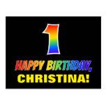[ Thumbnail: 1st Birthday: Bold, Fun, Simple, Rainbow 1 Postcard ]