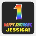 [ Thumbnail: 1st Birthday: Bold, Fun, Simple, Rainbow 1 Sticker ]