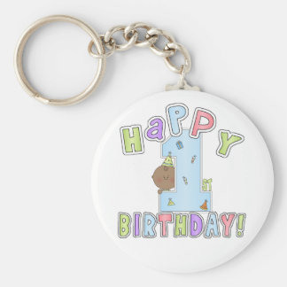 1st Birthday Boy,African American Basic Round Button Keychain