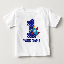 1st Birthday Boy Airplane Personalized Shirt