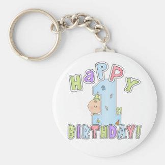 1st Birthday Boy Basic Round Button Keychain