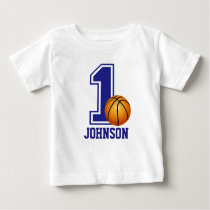 1st Birthday Boy basketball Personalized Baby T-Shirt