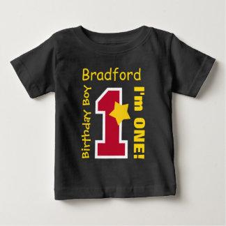 1st Birthday Boy BLACK One Year Custom Name A07E2 T Shirt