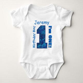 1st Birthday Boy Blue CAMO 1 Year Custom Name V01 Baby Bodysuit