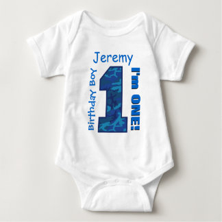 1st Birthday Boy Blue CAMO 1 Year Custom Name V01 Tshirt