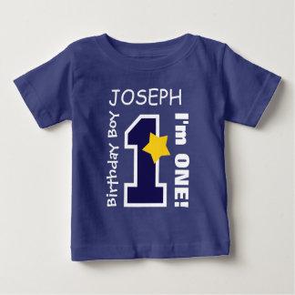 1st Birthday Boy BLUE One Year Custom Name BABY1 Baby T-Shirt