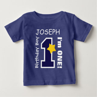 1st Birthday Boy BLUE One Year Custom Name BABY1 T Shirt