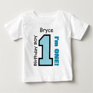 1st Birthday Boy BLUE One Year Custom Name V07G Tshirts