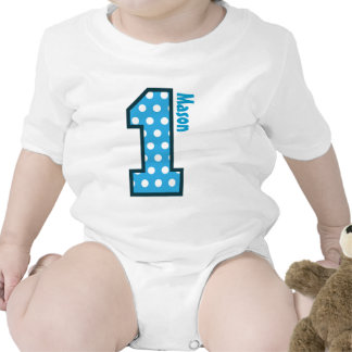 1st Birthday Boy Blue Polka Dots One Year Old N003 Bodysuit